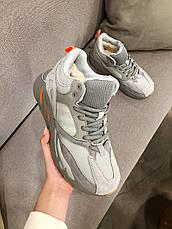 Теплые мужские кроссовки Adidas Yeezy Boost 700 (МЕХ) серые (Top replic), фото 2