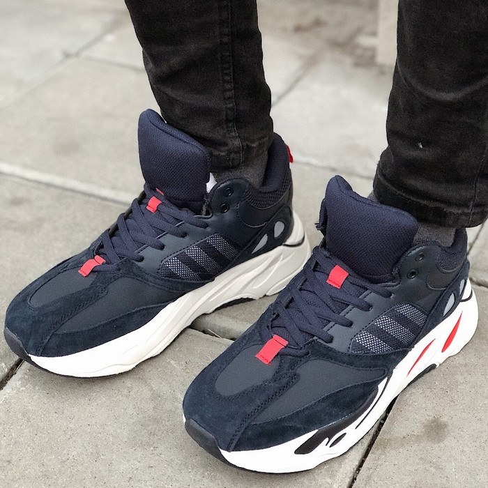 Теплые мужские кроссовки Adidas Yeezy Boost 700 (МЕХ) синие (Top replic)