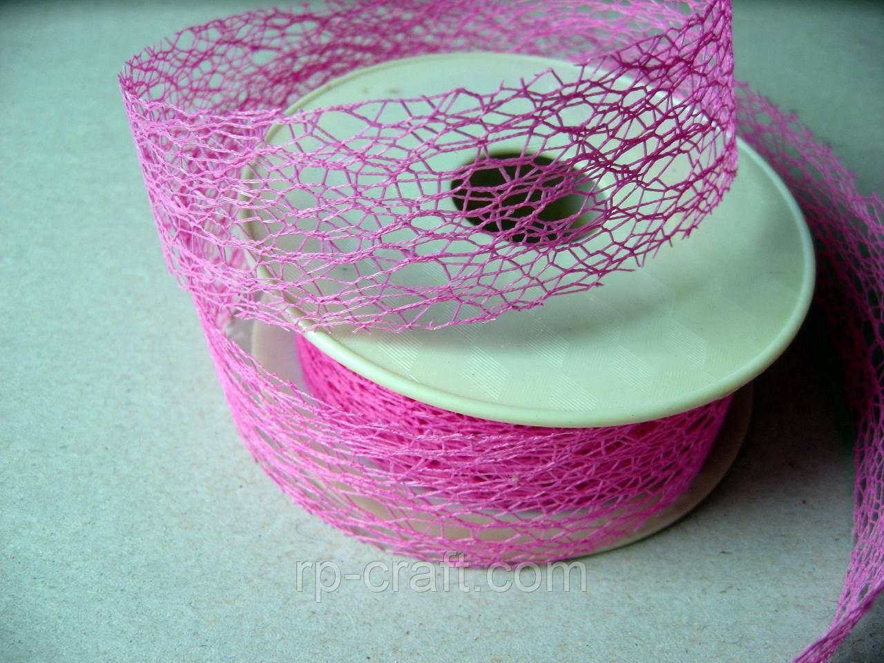 Стрічка - сітка флористична. Рожева, 30 мм