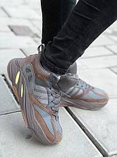 Теплые мужские кроссовки Adidas Yeezy Boost 700 (МЕХ) темно-серые (Top replic), фото 3