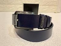 Мужской кожаный ремень Hugo Boss, синий ремень