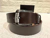 Мужской кожаный ремень Hugo Boss, коричневый ремень