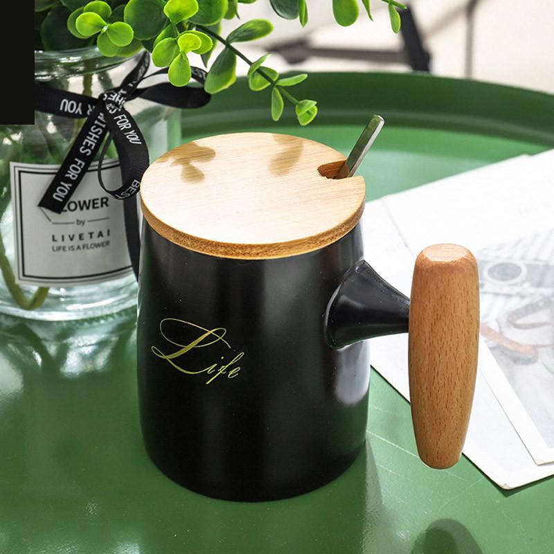 """Чашка """"Life"""", чорна, Кружка керамическая с деревянной крышкой и ложкой """"Жизнь"""""""