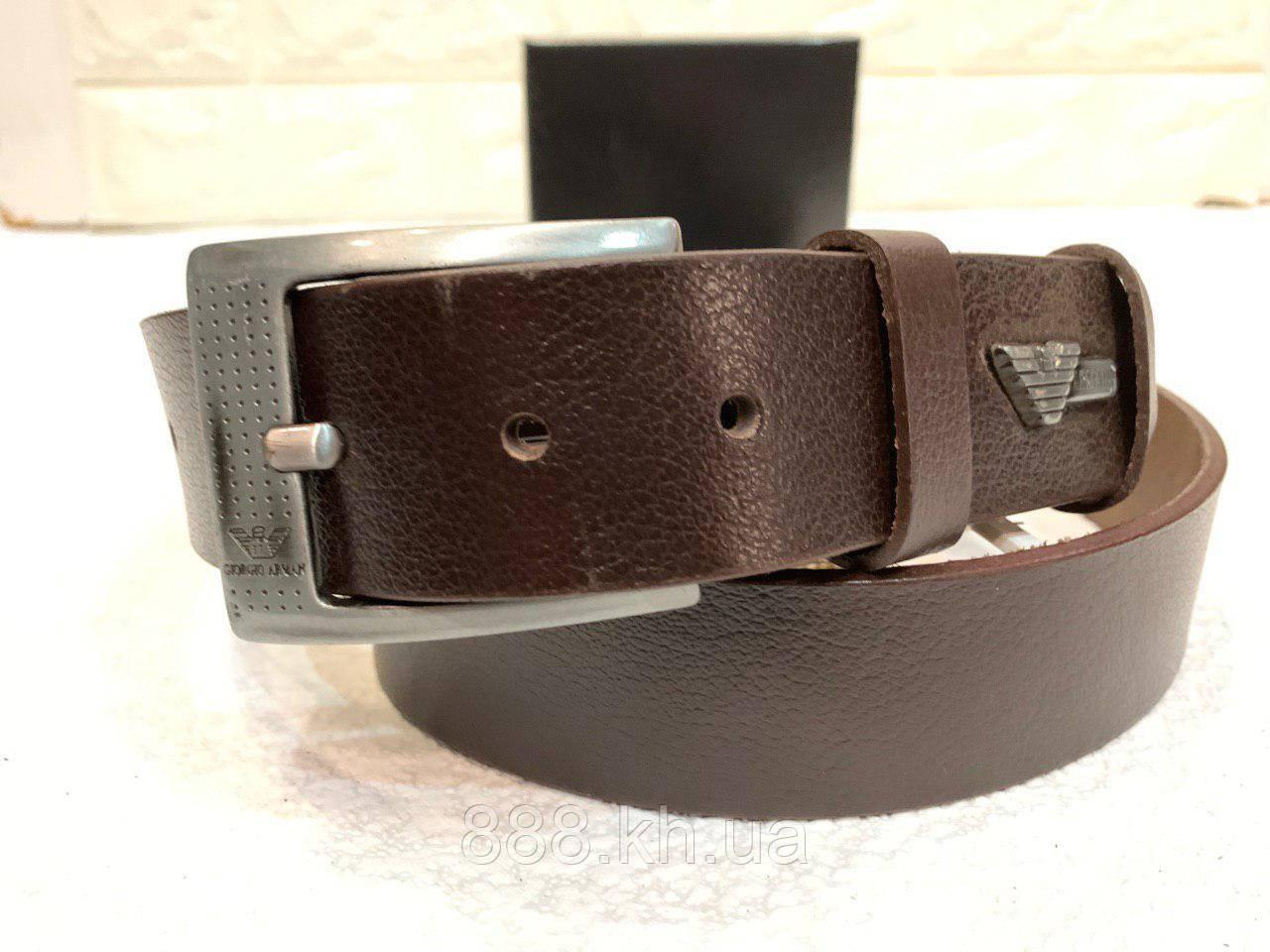 Мужской кожаный ремень Armani, коричневый ремень