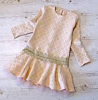 Дитяче плаття р. 140,146 Софія-3 бежевий злолтистый, фото 1