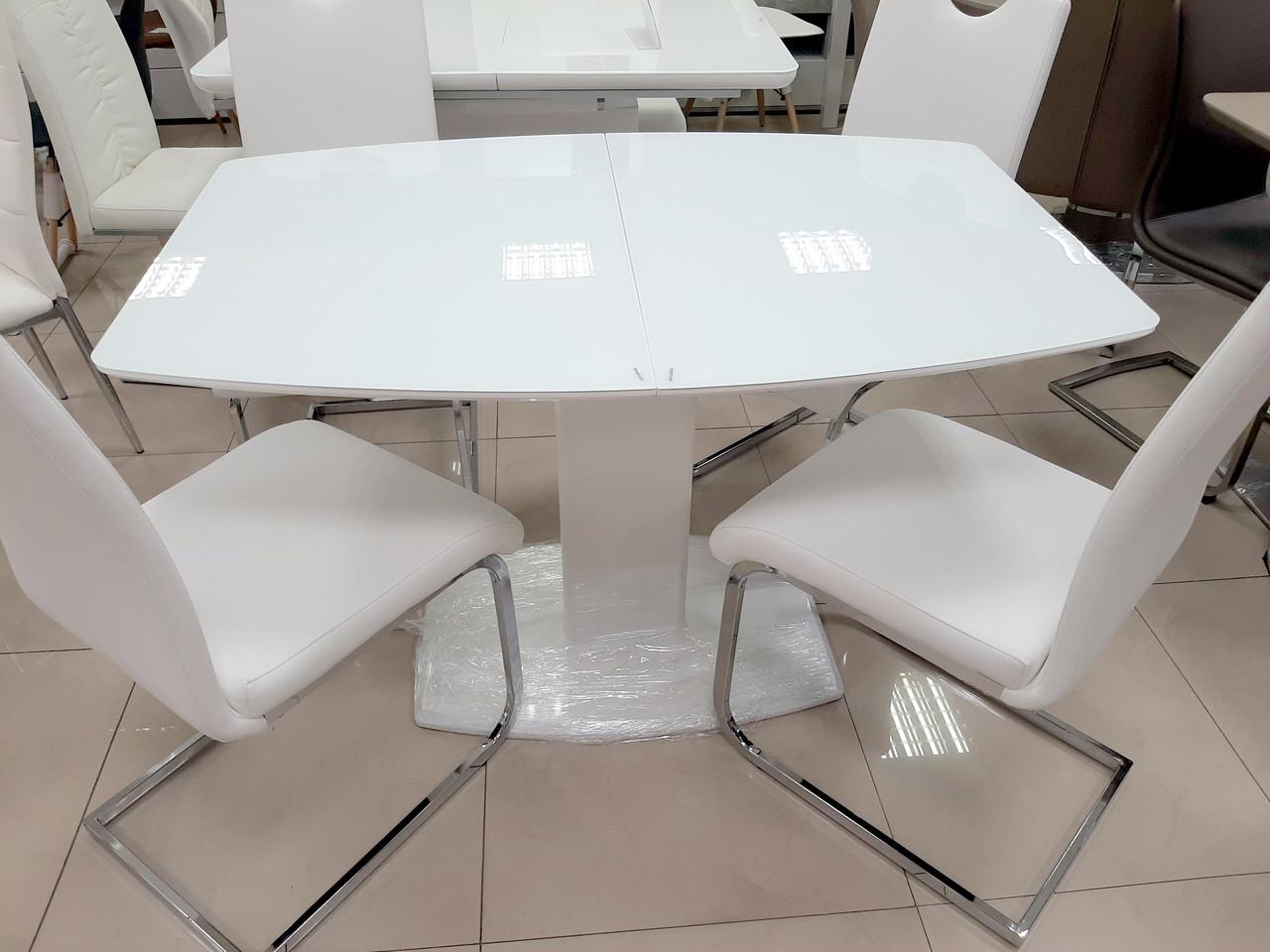 Стол Милан-1 (В 2396-1 White+W023)  Exm, цвет столешницы и ножек белый