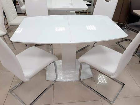 Стол Милан-1 (В 2396-1 White+W023)  Exm, цвет столешницы и ножек белый, фото 2