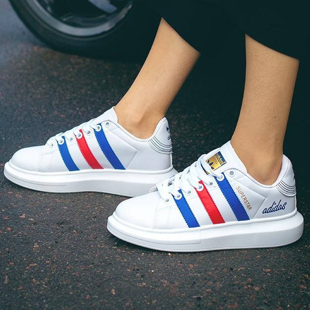 Кроссовки женские Adidas Superstar белые-полоски (Top replic)