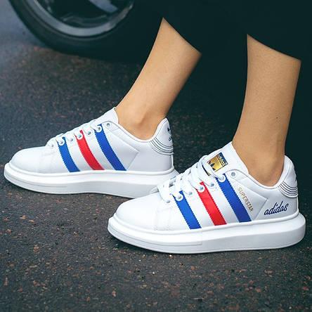 Кроссовки женские Adidas Superstar белые-полоски (Top replic), фото 2
