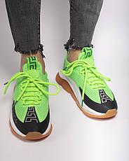 Кроссовки женские Versace Cross Chainer белые-зеленые (Top replic), фото 3