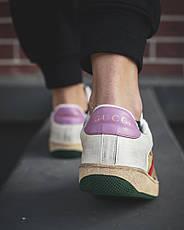 Кроссовки женские Gucci белые-кооричневые (Top replic), фото 2