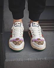 Кроссовки женские Gucci белые-кооричневые (Top replic), фото 3