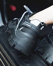 Кроссовки женские Prada Black (платформа) черные (Top replic), фото 3
