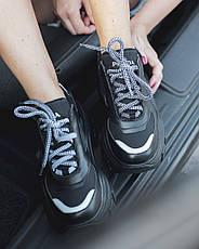 Кроссовки женские Prada Black (платформа) черные (Top replic), фото 2