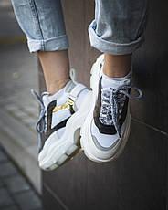 Кроссовки женские Prada (платформа) белые-черные (Top replic), фото 2