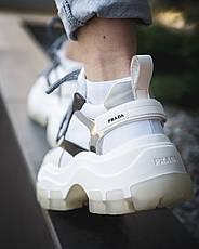 Кроссовки женские Prada (платформа) белые-черные (Top replic), фото 3