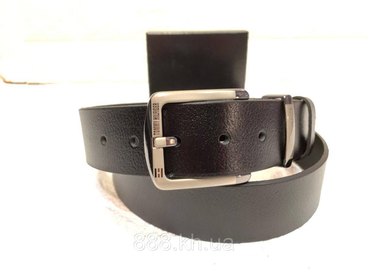 Мужской кожаный ремень Tommy Hilfiger, черный ремень
