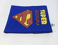 Синия мужская футболка с принтом SUPER дедушка