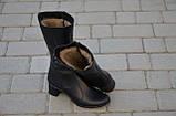 Зимние женские сапоги из натуральной кожи на каблуке черные 134019, фото 3