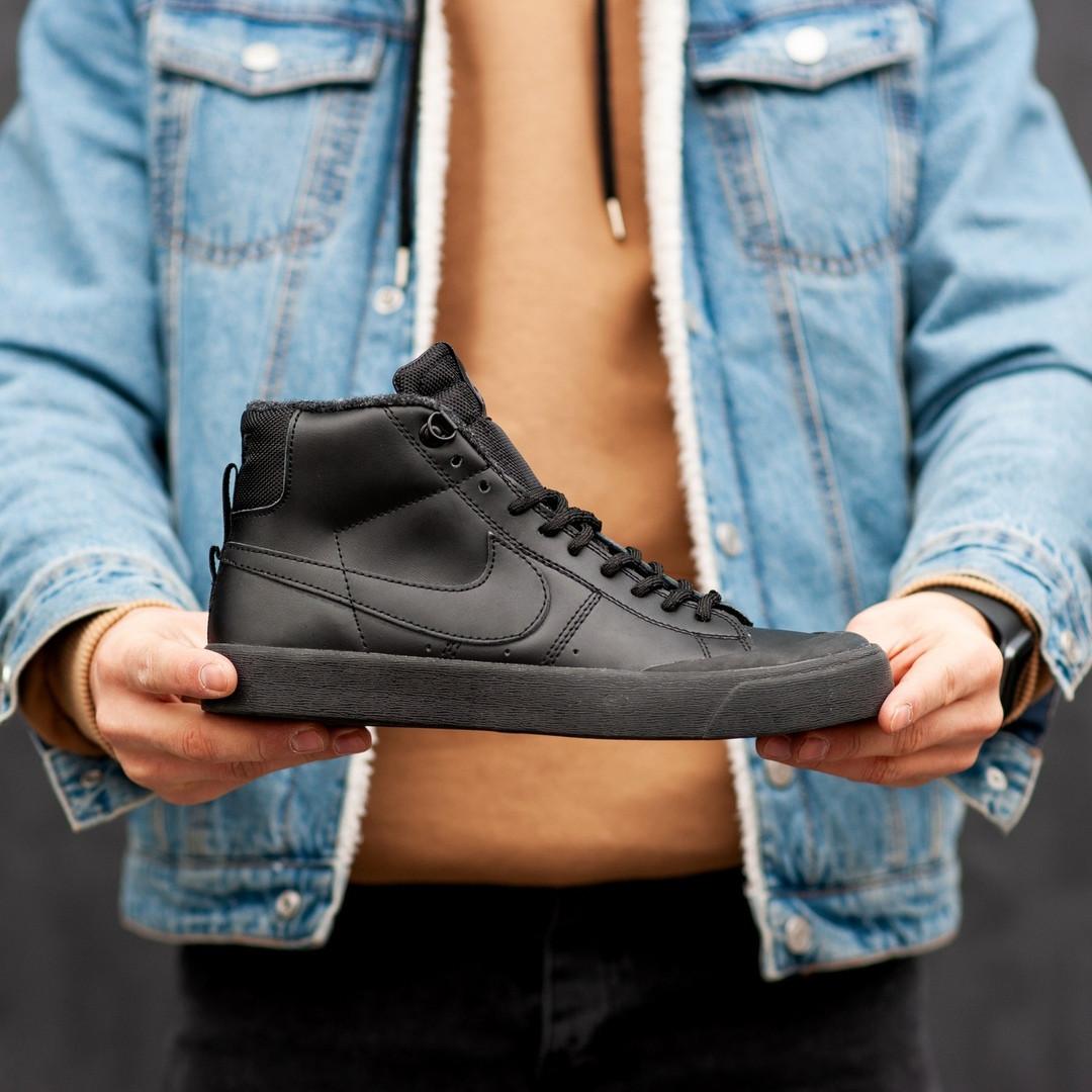 """Зимние кроссовки на меху Nike Blazer SB """"Черные"""""""