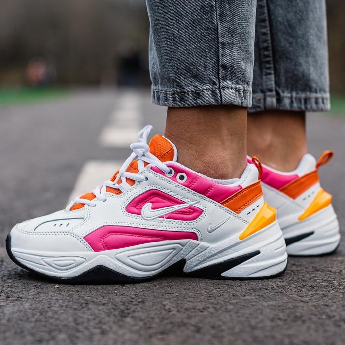 Кроссовки женские Nike M2K Tekno белые-оранжевые-розовые (Top replic)