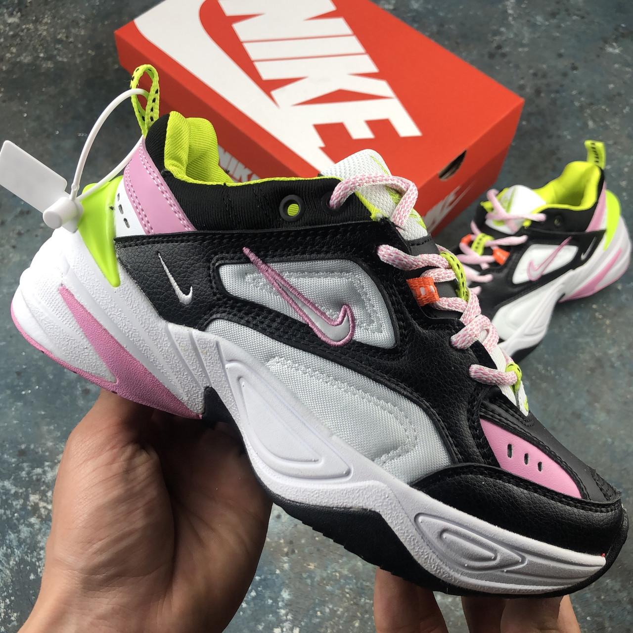 Кросівки жіночі Nike M2K Tekno чорні-рожеві (Top replic)
