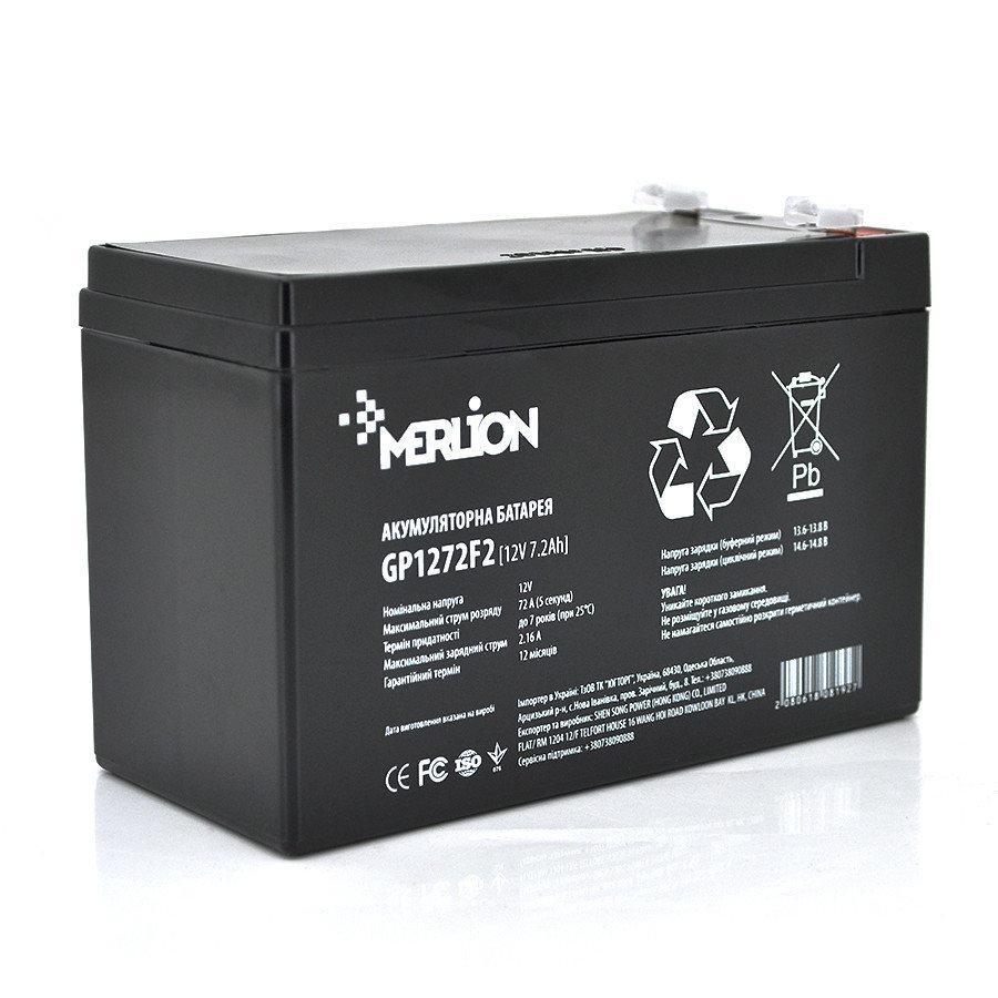 Аккумуляторная батарея MERLION AGM GP1272F2 12 V 7,2 Ah Black
