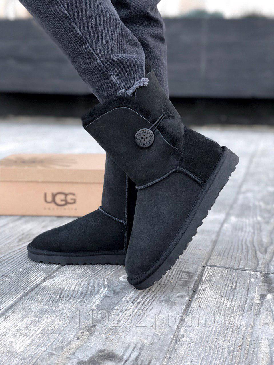 Женские сапоги зимние UGG Bailey Button 2 Black (черный)