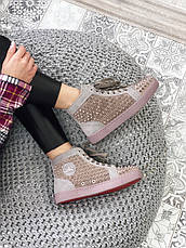 Кроссовки женские Christian Louboutin Louis Spikes (шипы) коричневые (Top replic), фото 2