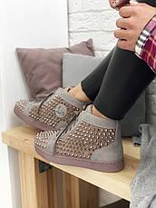 Кроссовки женские Christian Louboutin Louis Spikes (шипы) коричневые (Top replic), фото 3