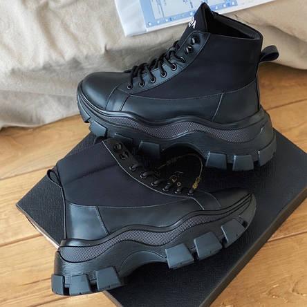Кроссовки женские Prada Milano Sneakers Block (высокие) черные (Top replic), фото 2