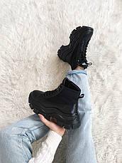 Кроссовки женские Prada Milano Sneakers Block (высокие) черные (Top replic), фото 3