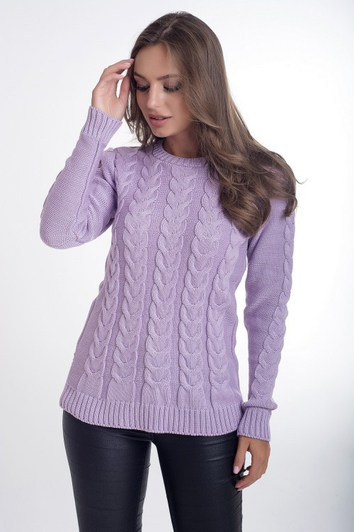 Однотонный свитер с косичкам 44-46 (в расцветках)