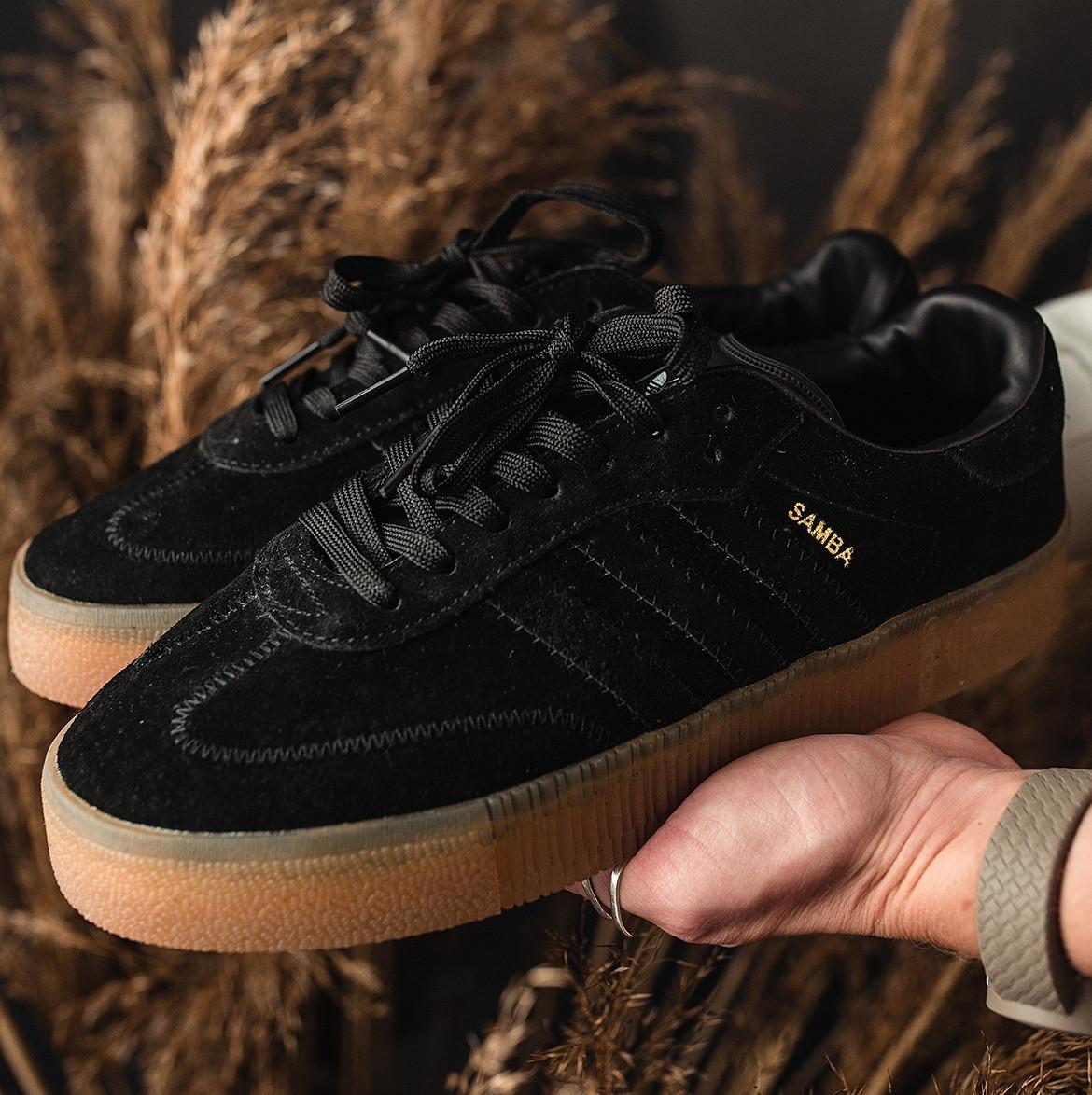 Кроссовки женские Adidas SAMBA черные (Top replic)