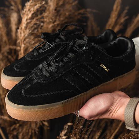 Кроссовки женские Adidas SAMBA черные (Top replic), фото 2