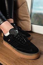 Кроссовки женские Adidas SAMBA черные (Top replic), фото 3