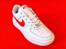 Кроссовки женские Nike Air Force 1 белые-красные (Top replic), фото 2