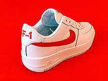 Кроссовки женские Nike Air Force 1 белые-красные (Top replic), фото 3