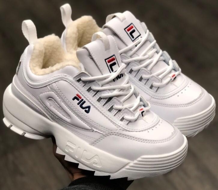 Теплые кроссовки женские Fila Disruptor 2 (МЕХ) белые (Top replic)
