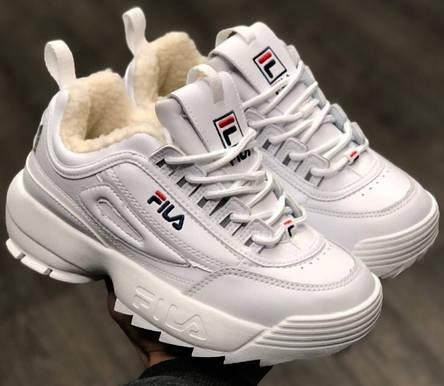 Теплі кросівки жіночі Fila Disruptor 2 (ХУТРО) білі (Top replic), фото 2