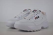 Теплые кроссовки женские Fila Disruptor 2 (МЕХ) белые (Top replic), фото 2
