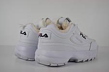 Теплі кросівки жіночі Fila Disruptor 2 (ХУТРО) білі (Top replic), фото 3