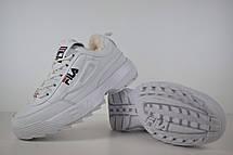 Теплые кроссовки женские Fila Disruptor 2 (МЕХ) белые (Top replic), фото 3