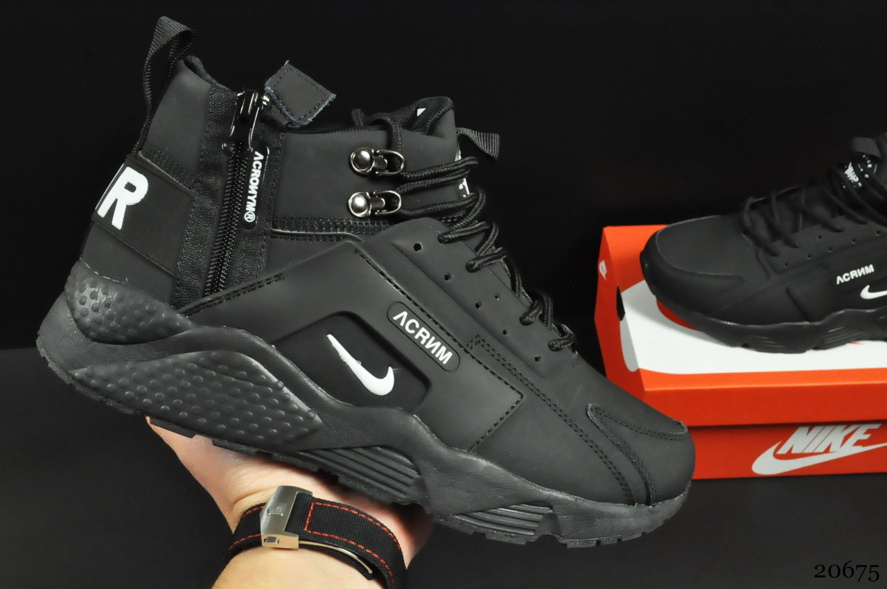 Ботинки Nike Air Huarache арт 20675 (зимние, мужские, черные)
