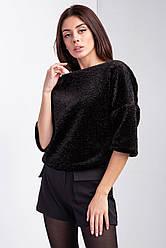 Пушистый блузон TEDDY из меха черного цвета с широкими укороченными рукавами