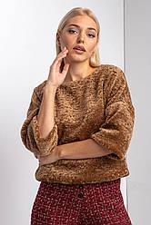 Пушистый блузон TEDDY из меха цвета ириски с широкими укороченными рукавами