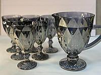 Набор бокалов «Зеркальный изумруд» графит(6 бокалов 300 мл + кувшин 1 л), 00000417