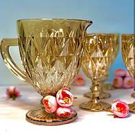 Набор бокалов «Зеркальный изумруд» янтарь (6 бокалов 300 мл + кувшин 1 л), 00000418
