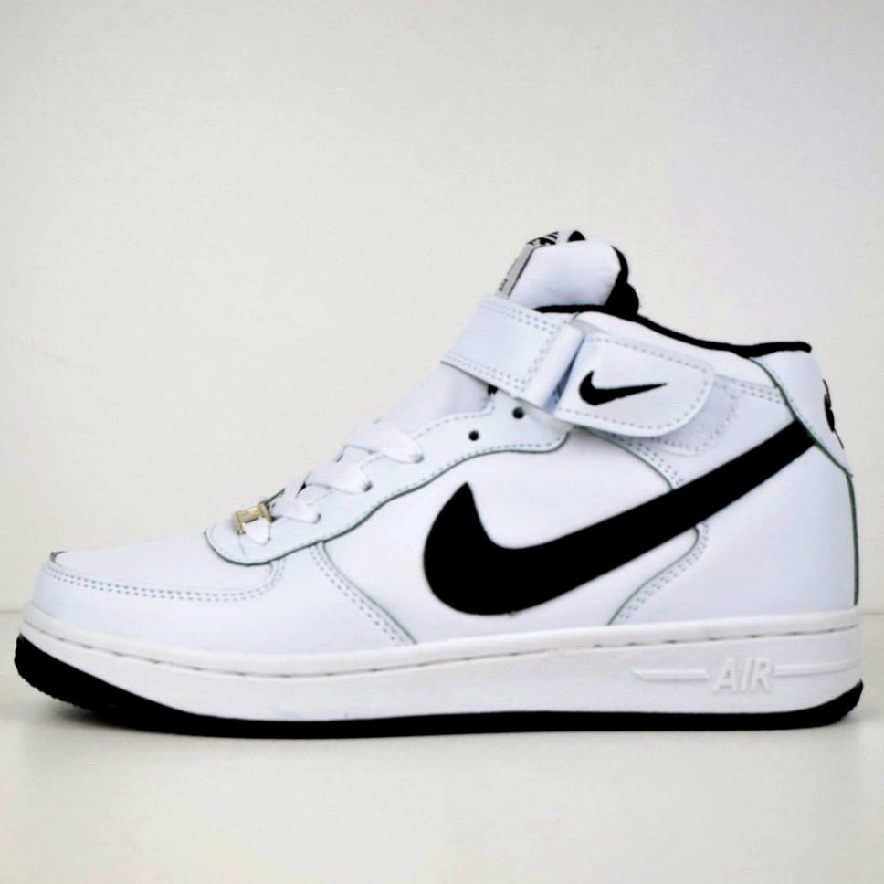 Теплые кроссовки женские Nike Air Force 1 AF1 (МЕХ) белые (Top replic)
