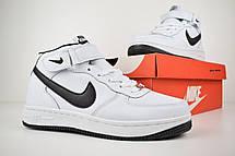 Теплые кроссовки женские Nike Air Force 1 AF1 (МЕХ) белые (Top replic), фото 3